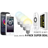 4-PACK 6 Watt Dual White Wi-Fi LED lampen + Wifi Box + Remote
