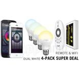 4-PACK 6 Watt Dual White Wi-Fi LED lampen + Wifi Box + Remote