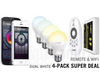 Mi·Light Super Saver 4-PACK 6 Watt Dual White Wi-Fi LED lampen + Wifi Box + Remote