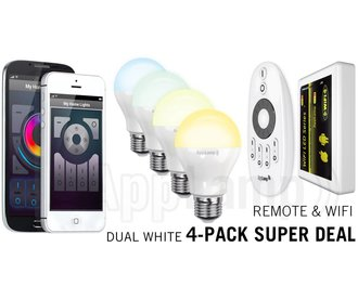 Super Saver 4-PACK 6 Watt Dual White Wi-Fi LED lampen + Wifi Box + Remote