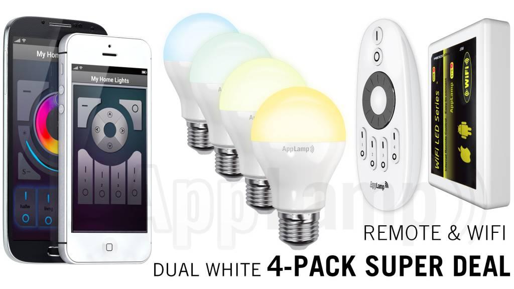Super Saver 4-PACK 6 Watt Dual White Wi-Fi LED lampen + Wifi Box + Remote