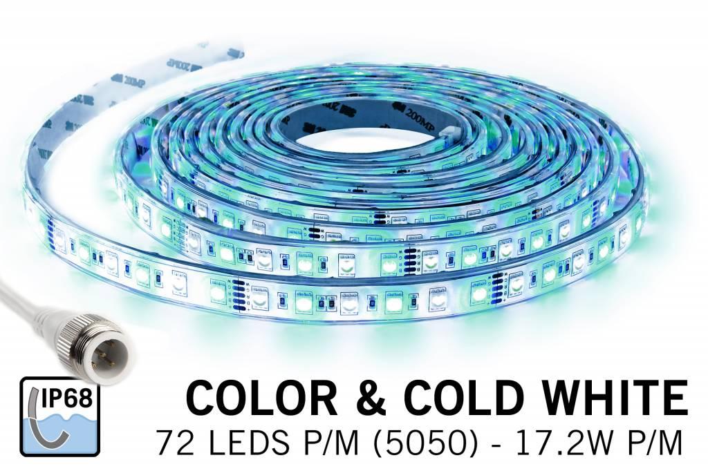 AppLamp IP 68 Waterdichte RGBW LED strip Kleur + koud wit, 360 leds 12V
