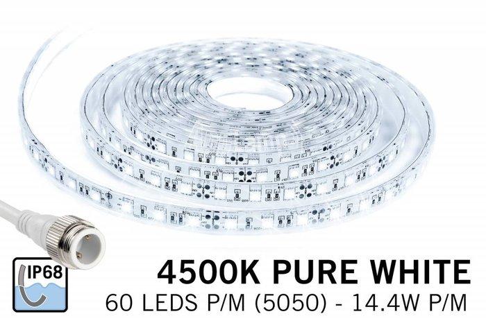 Waterdichte LED strip neutraal wit IP68 met 300 leds, 5M,12V, 72W