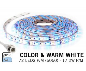 Waterdichte RGBW LED strip (IP68) met 360 leds 12V, 5 meter