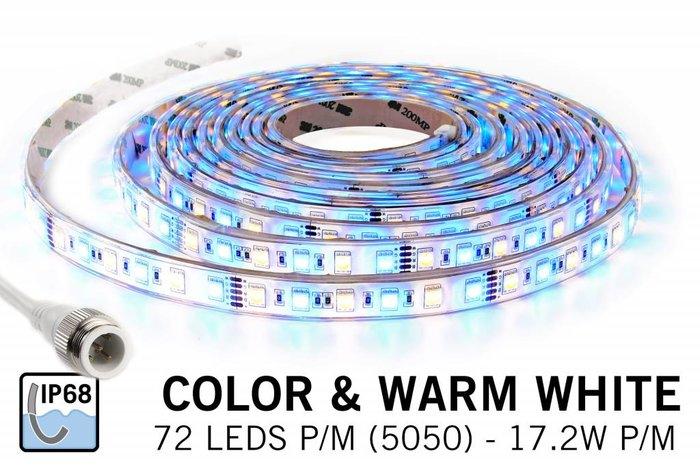 Waterdichte RGBW LED strip IP68 met 360 leds, 5m,12V, 86W