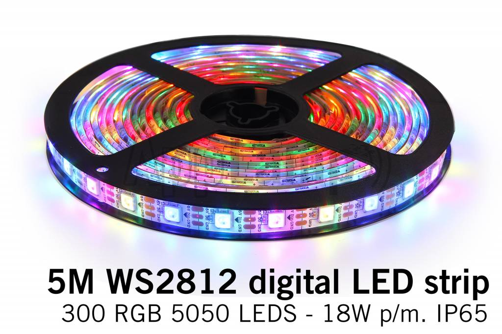 AppLamp Dream Color WS-2812 RGB Digital LED strip 5 meter, 60 leds p.m. type 5050 5V IP65