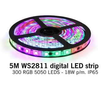 AppLamp Dream Color WS2811 RGB Digital LED strip 5 meter, 60 leds p.m. type 5050 12V IP65