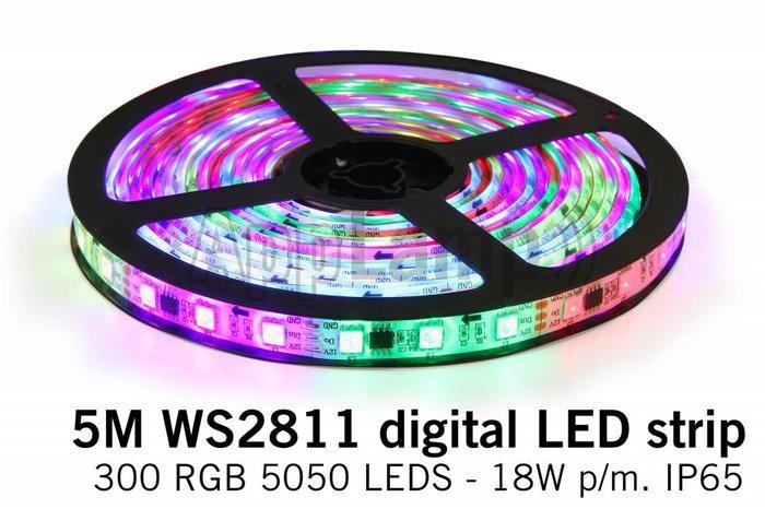 AppLamp Dream Color WS2811 RGB Digital LED strip 5 meter, 60 leds p.m. type 5050 12V IP65
