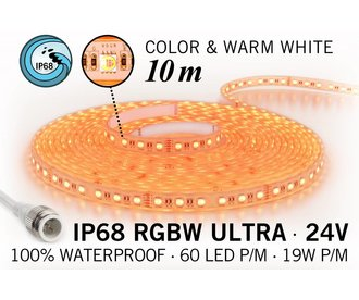 IP68 Waterdichte RGBW ULTRA Ledstrip, 600 ULTRA Led's, 24 Volt, 10 m
