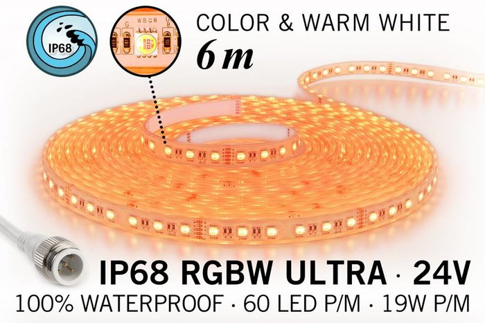 AppLamp IP68 Waterdichte RGBW ULTRA Ledstrip met 360 RGBW ULTRA Led's 24 V, 6 m