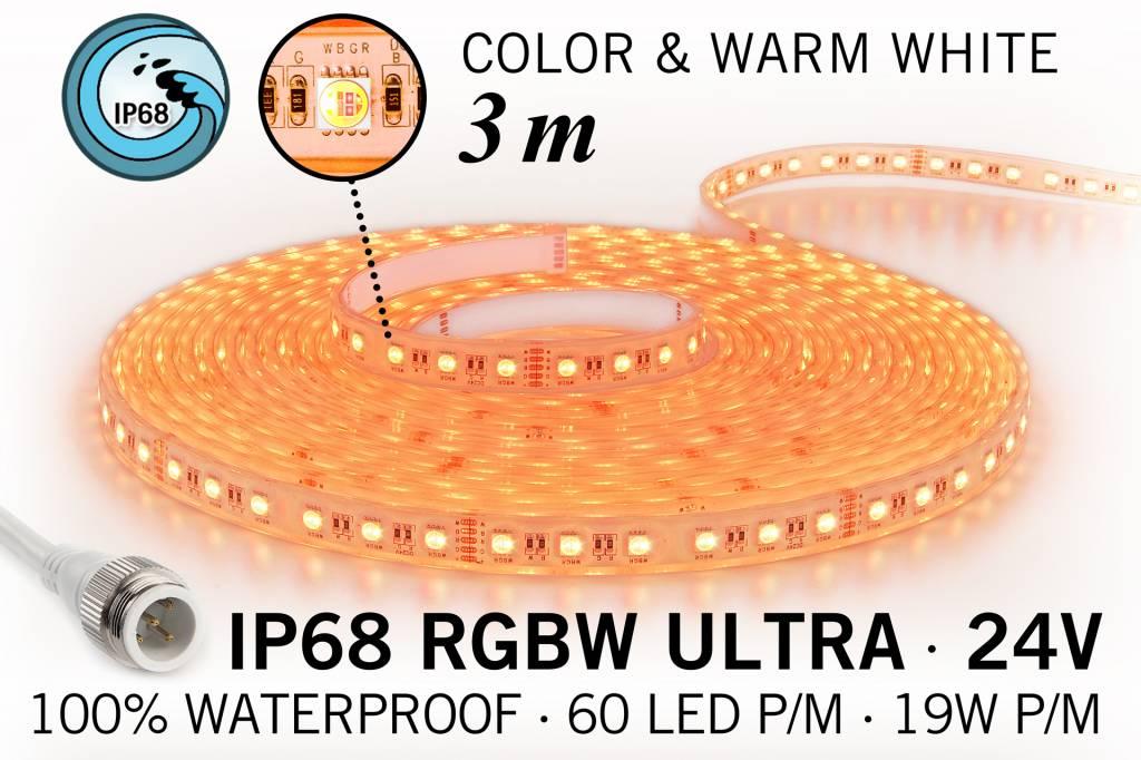 IP68 Waterdichte RGBW ULTRA Ledstrip met 180 RGBW ULTRA Led's 24 V, 3 m