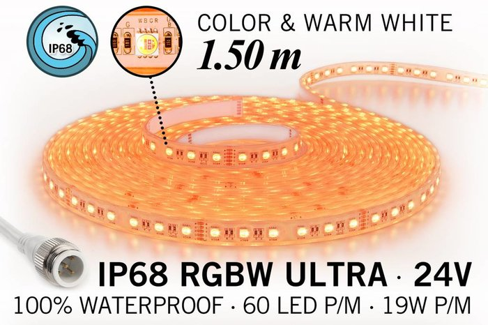 IP68 Waterdichte RGBW ULTRA Ledstrip met 180 RGBW ULTRA Led's 24 V, 1.50 m