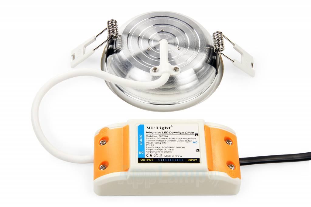Mi·Light 6W Mi-Light lage RGBWW inbouwspot, RGB kleur + Dual White, complete 220V sets met remote