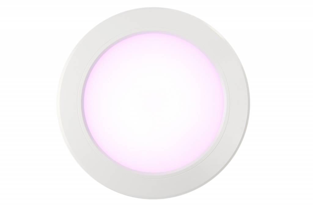 Mi-Light Set 12W Dimbaar RGBWW Kleur + Dual White LED Inbouwspot 220V + Afstandbediening. Satijn Wit. Rond Ø180mm