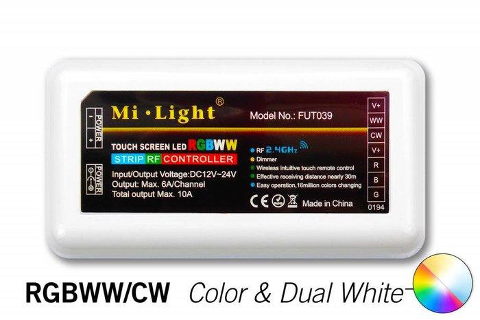 MiLight RF RGB Kleur+Dual White (CT) Controller *Nieuw* 5x6A 360W (los) 12-24V