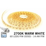 Waterdichte Warm Witte LED strip IP68 met 300 LED's, 1.5 - 5M,12V, 72W