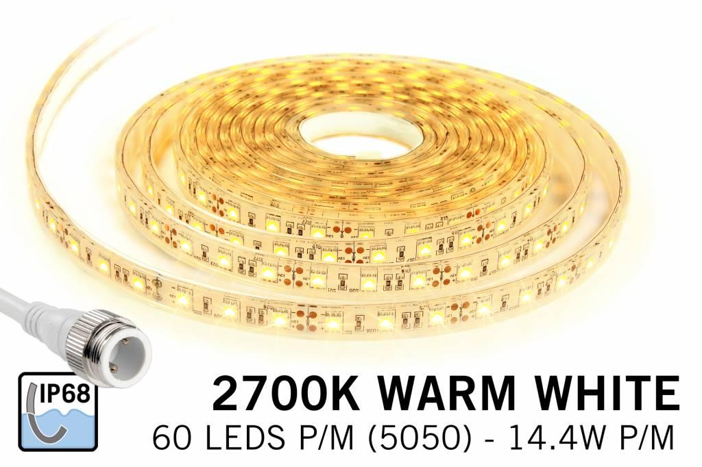 AppLamp Waterdichte Warm Witte LED strip IP68 met 300 LED's, 1.5 of 5 meter,12V, 72W