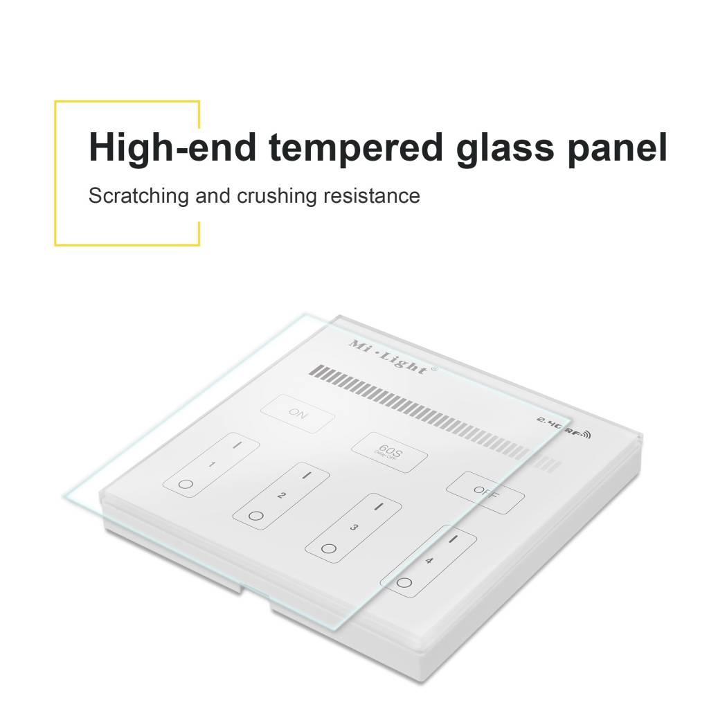 Mi·Light MiLight Inbouw RF Touch Dimmer Paneel 4-kanaals, Witte Verlichting, 220V