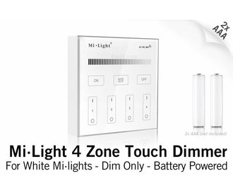 Mi·Light MiLight RF Opbouw Touch WandBediening Dimmer 4-zone, Enkele kleur, AAA Batterij