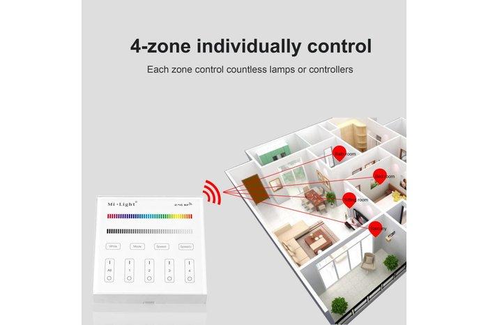 MiLight MiLight RGB / RGBW Touch Wandbediening Opbouw, 4-zones, RF, 2xAAA Batterij