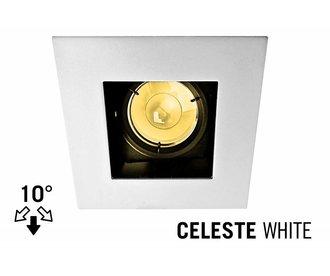 LED Inbouwspot CELESTE, GU10 Armatuur, Wit Verdiept Vierkant, Tilt 10°