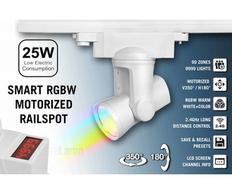 Mi·Light Alpha Lite 25W RGBW Rail Track Light 99 zones met 350º / 180º motorbediening