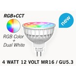 Mi·Light MR16 GU5.3 LED spotje, RGB Kleur en Dual White, 12V halogeen vervanger, RF, 4W