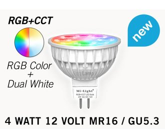 Mi·Light MR16 GU5.3 LED spotje, RGB Kleur en Dual White, 12V halogeen vervanger, RF, 4W