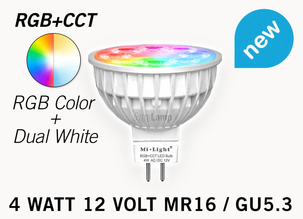 Mi·Light MR16 GU5.3 LED spotje, RGB Kleur en Dual White, 12V halogeen vervanger,