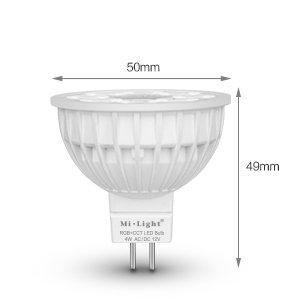 Mi-light 4W RGBW & Dual White 12V MR16 GU5.3 LED Spot. Halogeenvervanger op afstand bedienbaar.