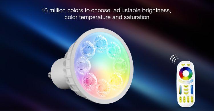 Mi·Light Mi-light 4W RGBW & Dual White 220V GU10 LED Spot. Halogeenvervanger op afstand bedienbaar