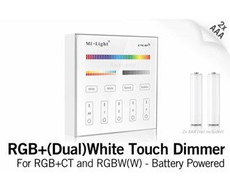 MiLight MiLight RGB+ DualWhite (RGB+CT) Touch Wandbediening Opbouw, 4-zones, RF, 2xAAA