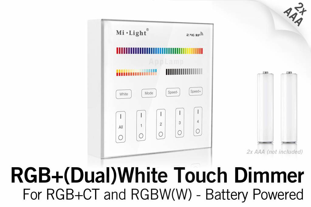 MiLight RGB+ DualWhite (RGB+CT) Touch Wandbediening Opbouw, 4-zones, RF, 2xAAA