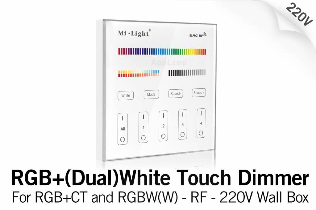 Mi·Light MiLight RGB+ DualWhite (RGB+CT) Touch Inbouw wandbediening, 4-zones, RF, 220V