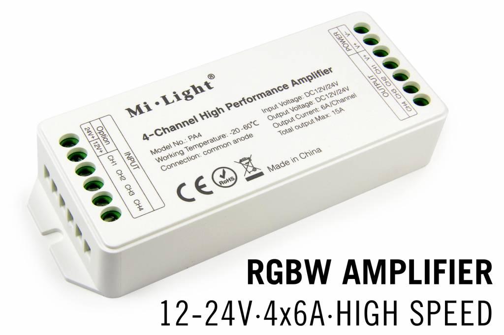 Mi·Light RGBW MiLight LED strip versterker 4 x 6Amp High Speed