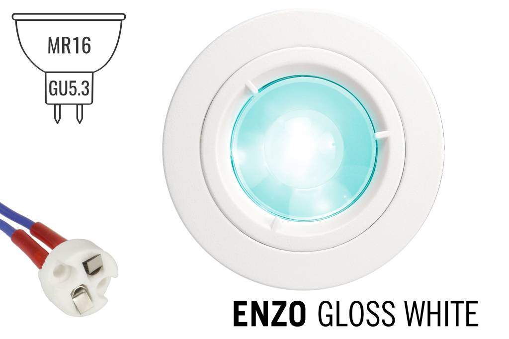 GU5.3 / MR16 LED Inbouwspot Armatuur ENZO. Glanzend Wit Ø82mm
