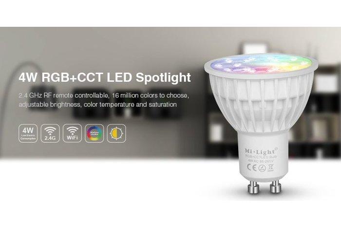 GU10 RGB+Dual White 4 Watt Wi-Fi LED spots. Complete set met Wifi Box en Remote!