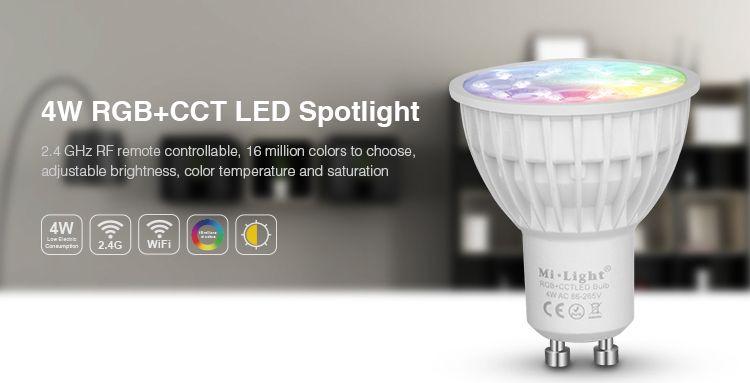 Mi·Light GU10 RGB+Dual White Mi-Light 4 Watt Wi-Fi LED spots. Complete set met Wifi Box en Remote!