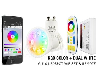 GU10 RGB+Dual White 4 Watt Wi-Fi LED spots. Complete set met Wifi Box en Remote!