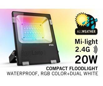 Mi·Light Mi-Light 20W RGBWW Kleur + Dual White LED Schijnwerper. Waterdicht IP65