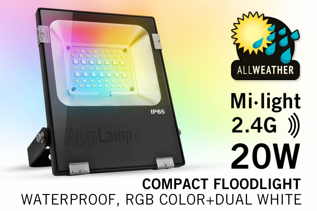 Mi·Light Mi-Light 20W RGBWW Kleur + Dual White LED Schijnwerper 220V. Spatwaterdicht IP65