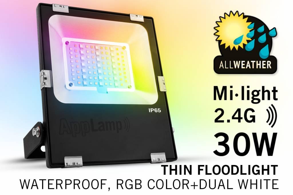 Mi-Light 30W RGBWW Kleur + Dual White LED Schijnwerper. Waterdicht IP65