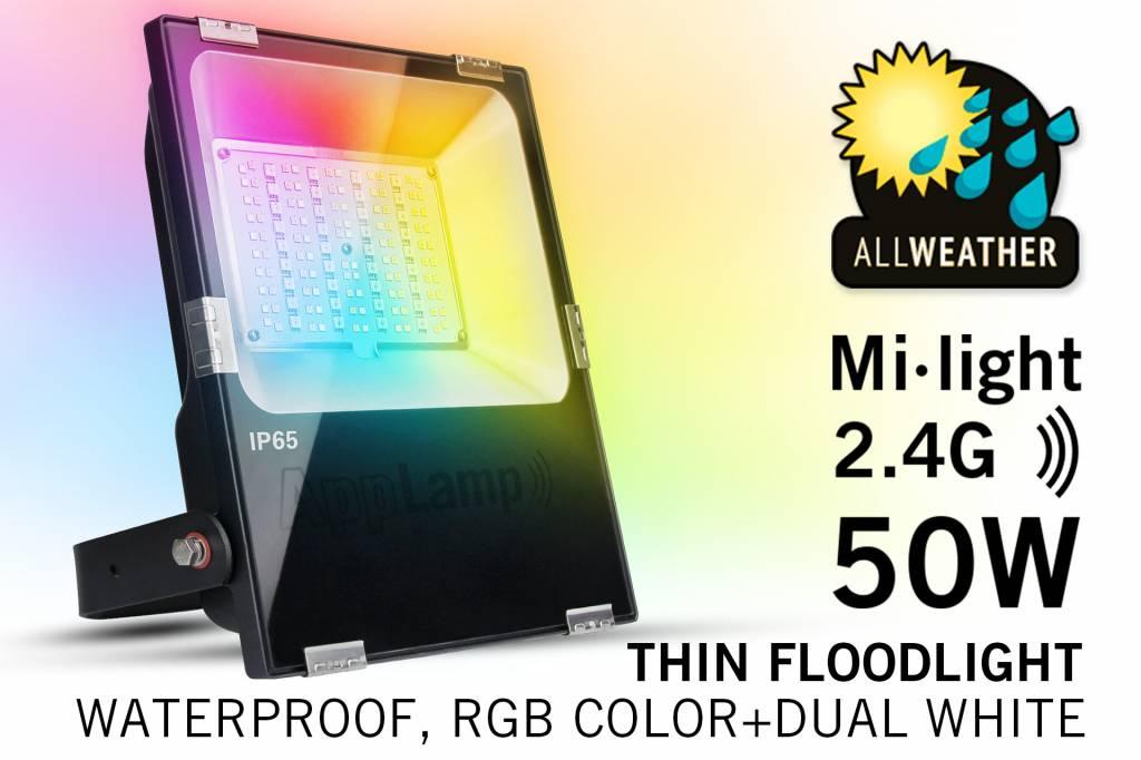 Mi·Light Mi-Light 50W RGBWW Kleur + Dual White LED Schijnwerper 220V. Spatwaterdicht IP65