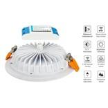 LED Inbouwspot met Afstandsbediening Mi-Light 15W RGBWW Kleur + Dual White IP54 Waterdicht 220V. Satijn Wit. Rond ⌀190mm