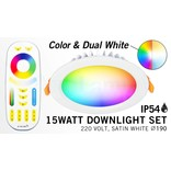 RGB kleur + Dual White 15 Watt LED Waterproof inbouwspots, complete 220V sets met remote *Nieuw*