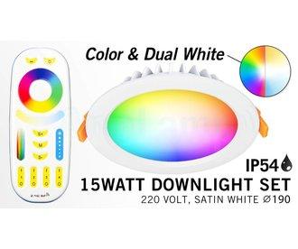 Mi·Light RGB kleur + Dual White 15 Watt LED Waterproof inbouwspots, complete 220V sets met remote *Nieuw*