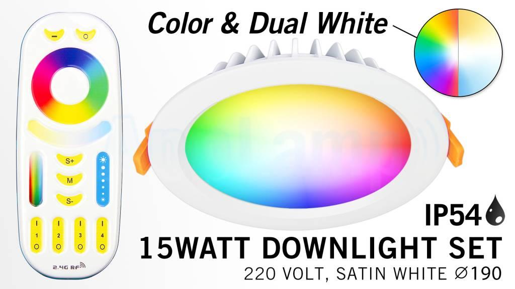 Mi·Light Mi-Light Set 15W Dimbaar RGBWW Kleur + Dual White LED Inbouwspot 220V + Afstandbediening. Waterdicht IP54. Satijn Wit. Rond Ø190mm