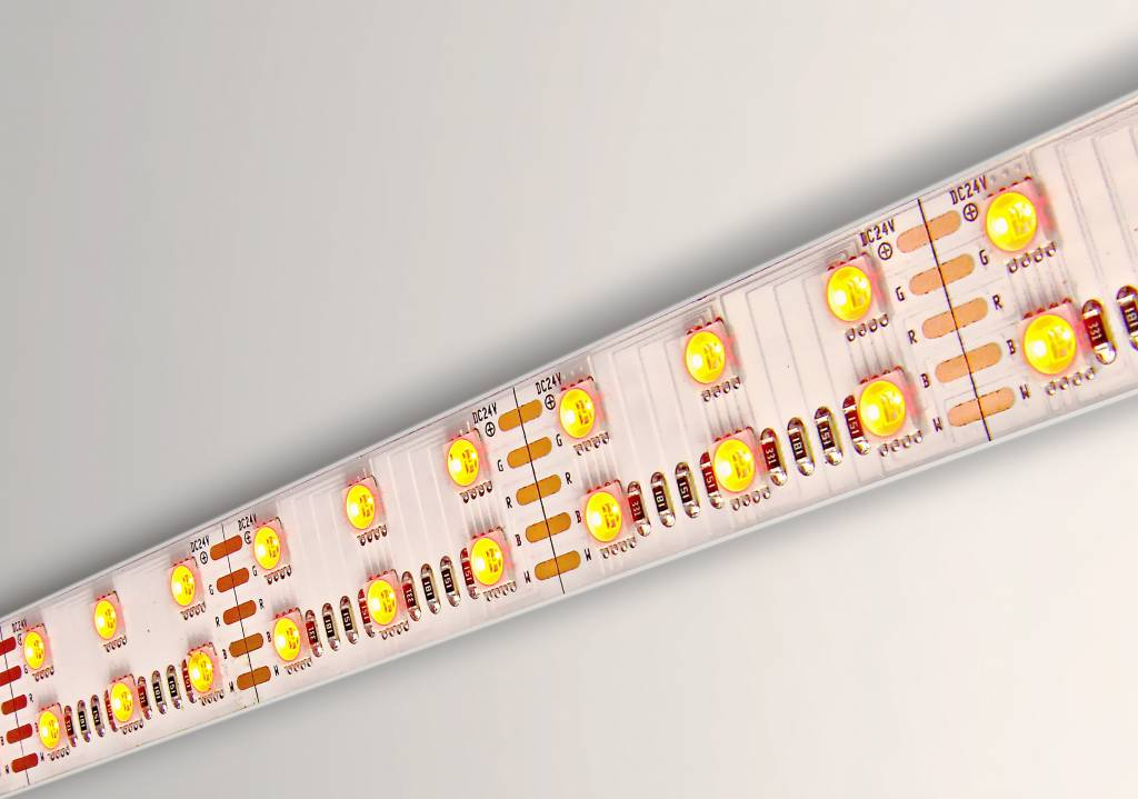 AppLamp RGBW ULTRA 4in1 LED strip dubbele rij 120 LED's per meter,  2,5 of 5 Meter 24 Volt