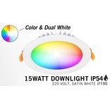 Mi·Light Mi-Light 15W Dimbaar RGBWW Kleur + Dual White LED Inbouwspot 220V. Waterdicht IP54. Satijn Wit Ø190mm