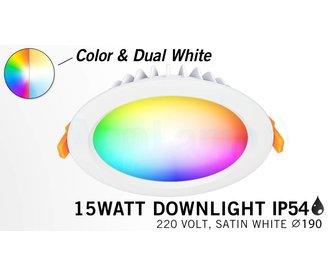 Mi·Light RGB kleur + Dual White 15 Watt LED Waterproof inbouwspot, Losse spot zonder remote.